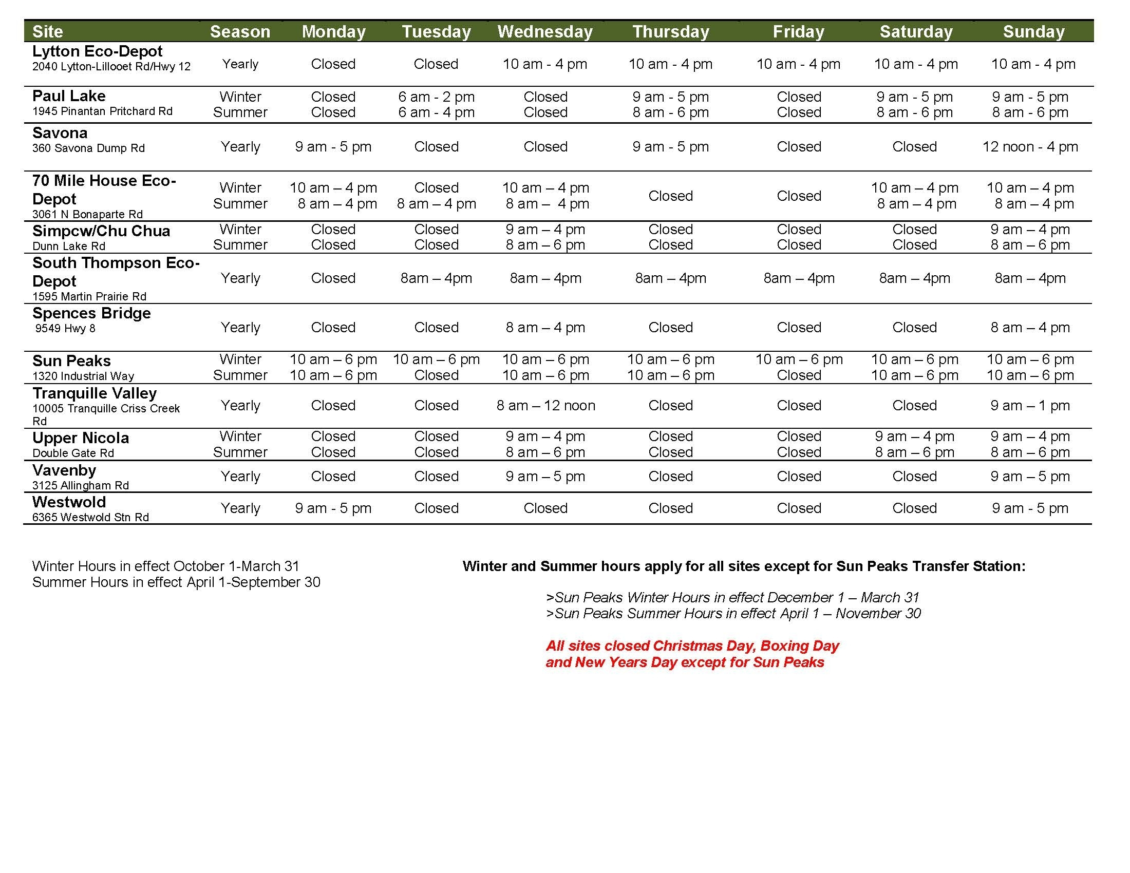 Hours Of Operation And Collection Schedule | Thompson-Nicola