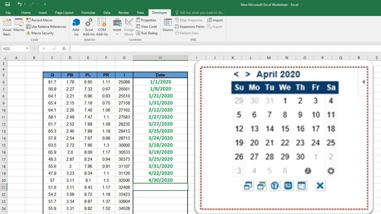 How To Add Mini Calandar Date Picker To Ms Excel