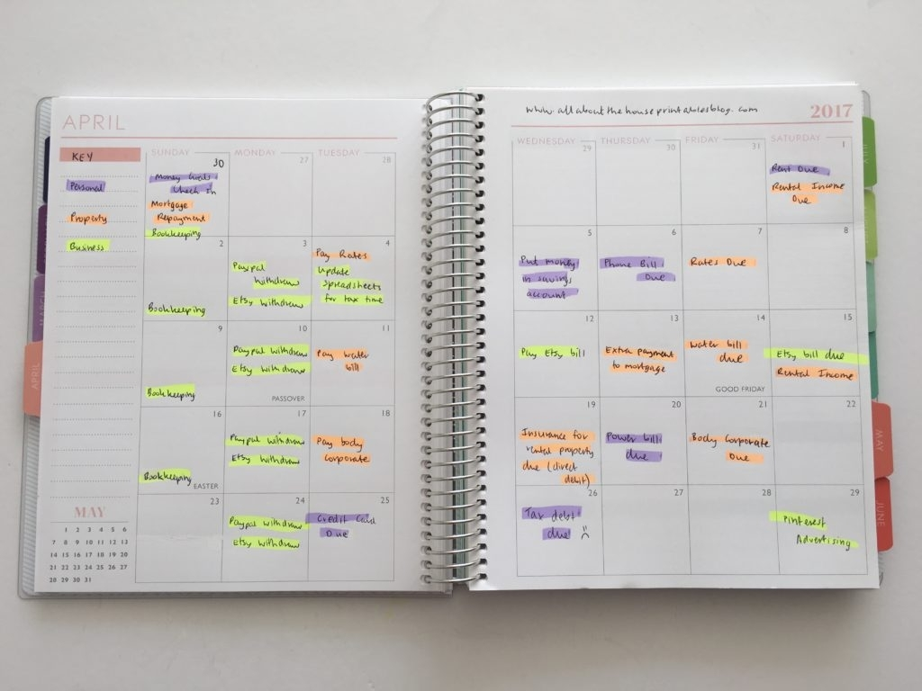 How To Color Code Bill Paying In Your Planner (7 Different