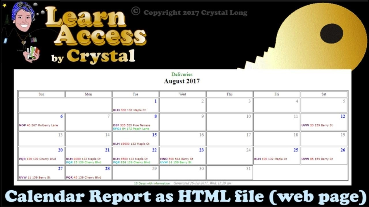 How To Create Calendar Reports From Access Queries With Dates!  As  Shareable Web Pages