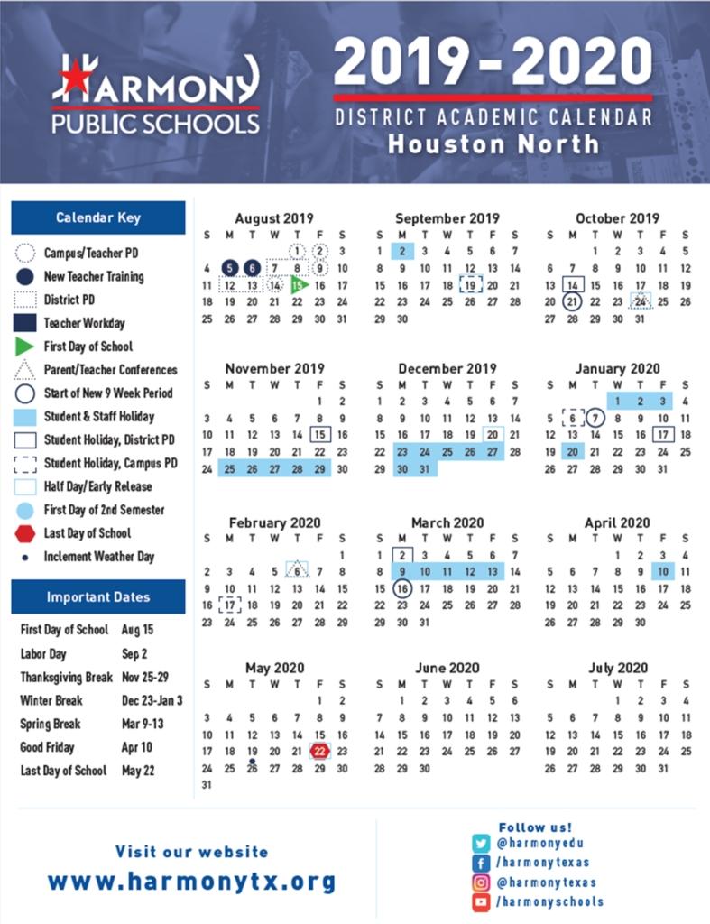 Hse Academic Calendar – Harmony School Of Excellence – Houston