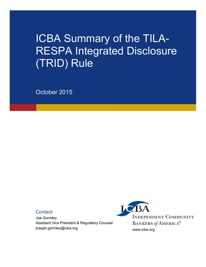 Icba Summary Of The Tila- Respa Integrated Disclosure (Trid