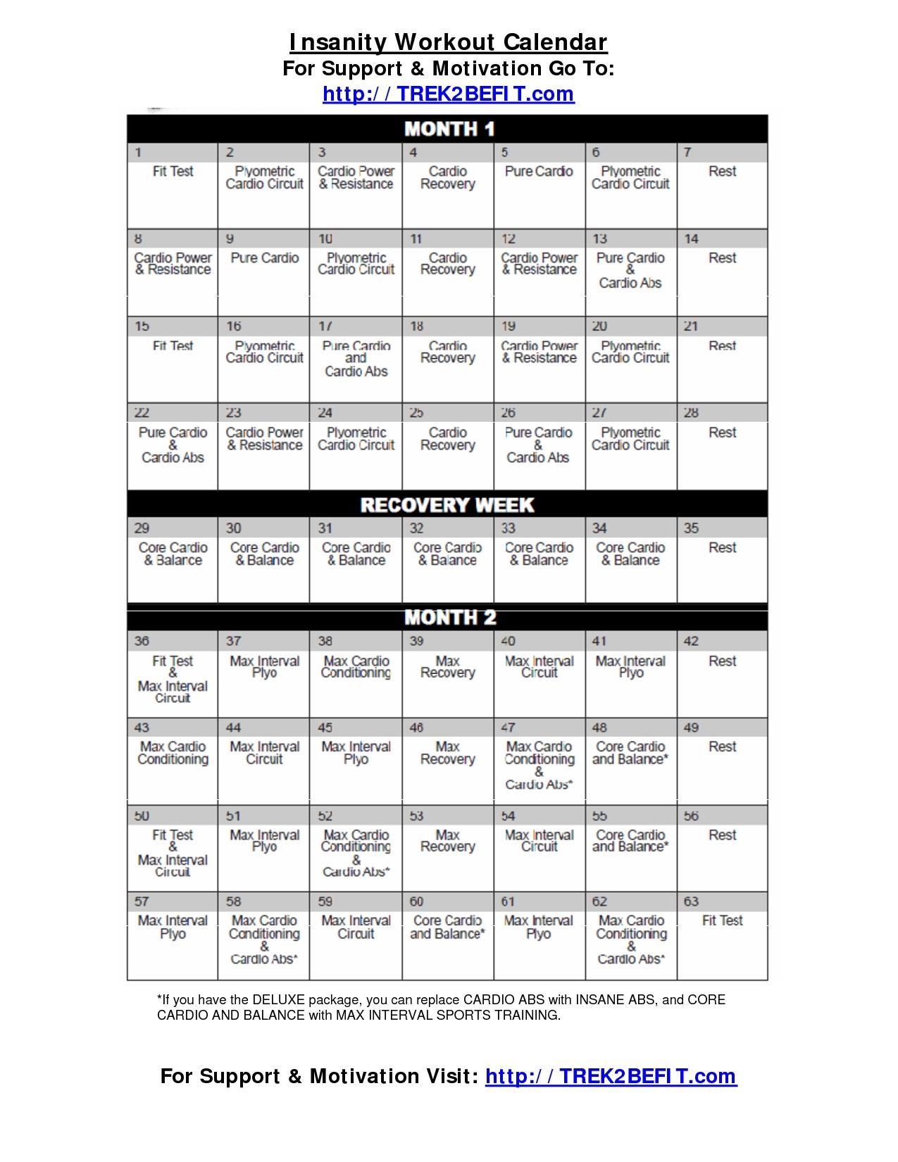 Insanity Workout Calendar | Workout Calendar, Insanity