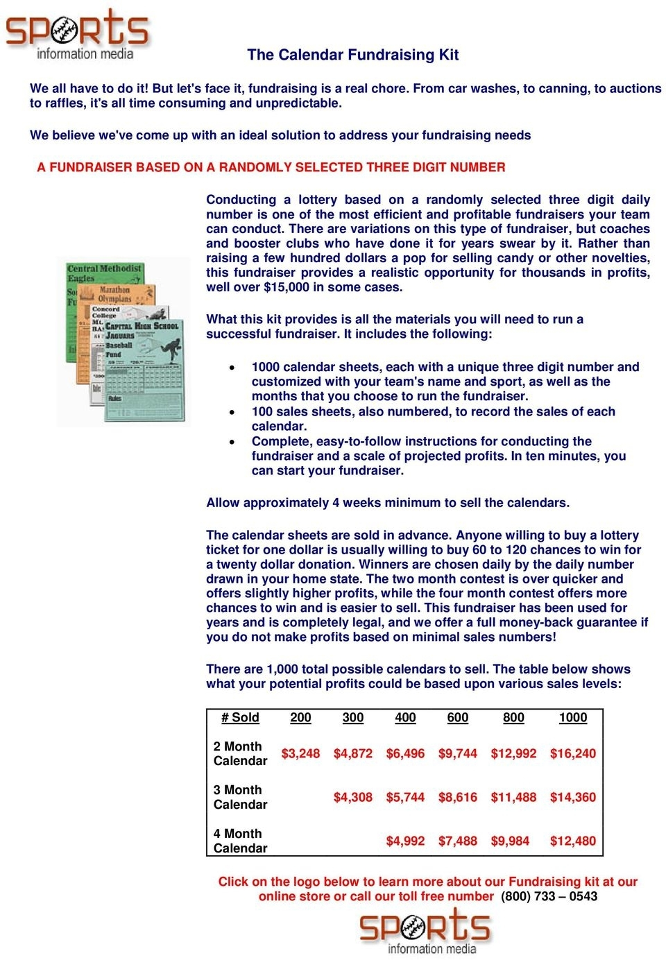 Instructions For The Calendar Fundraising Kit - Pdf Free