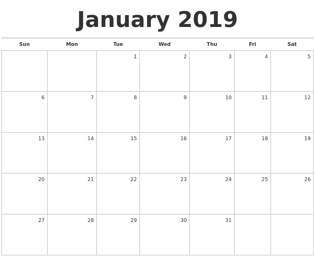 January 2019 Calendar Month Printable | Calendar For April