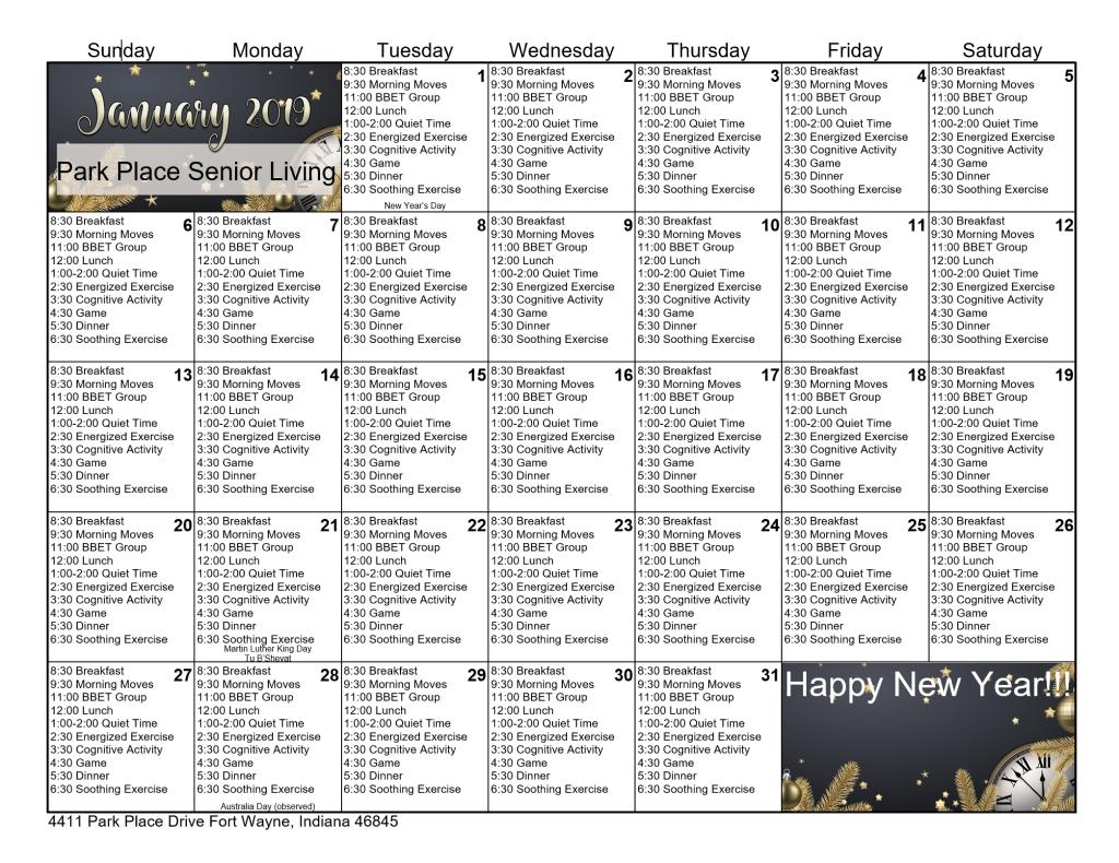 January 2019 Memory Care Calendar   Park Place Senior Living