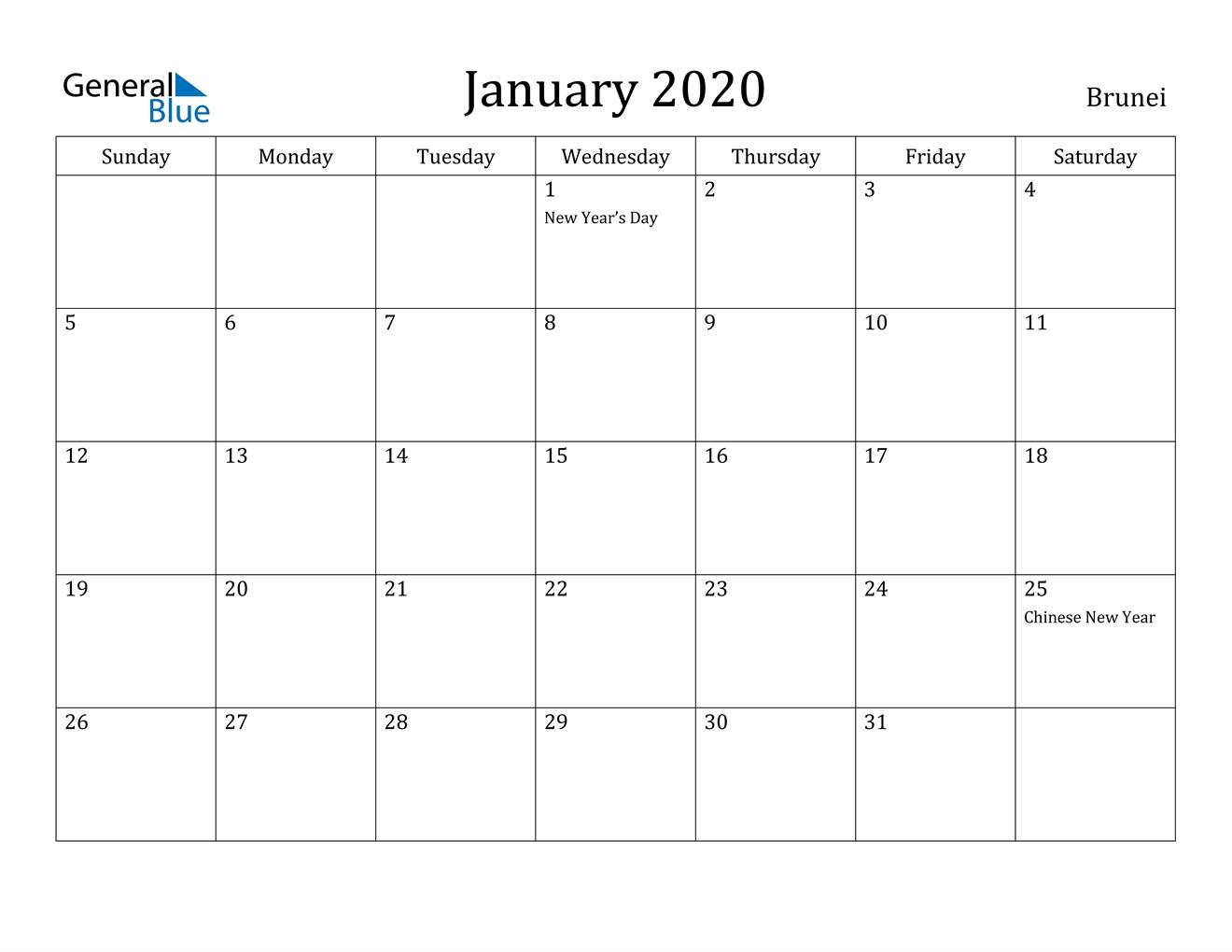 January 2020 Calendar - Brunei