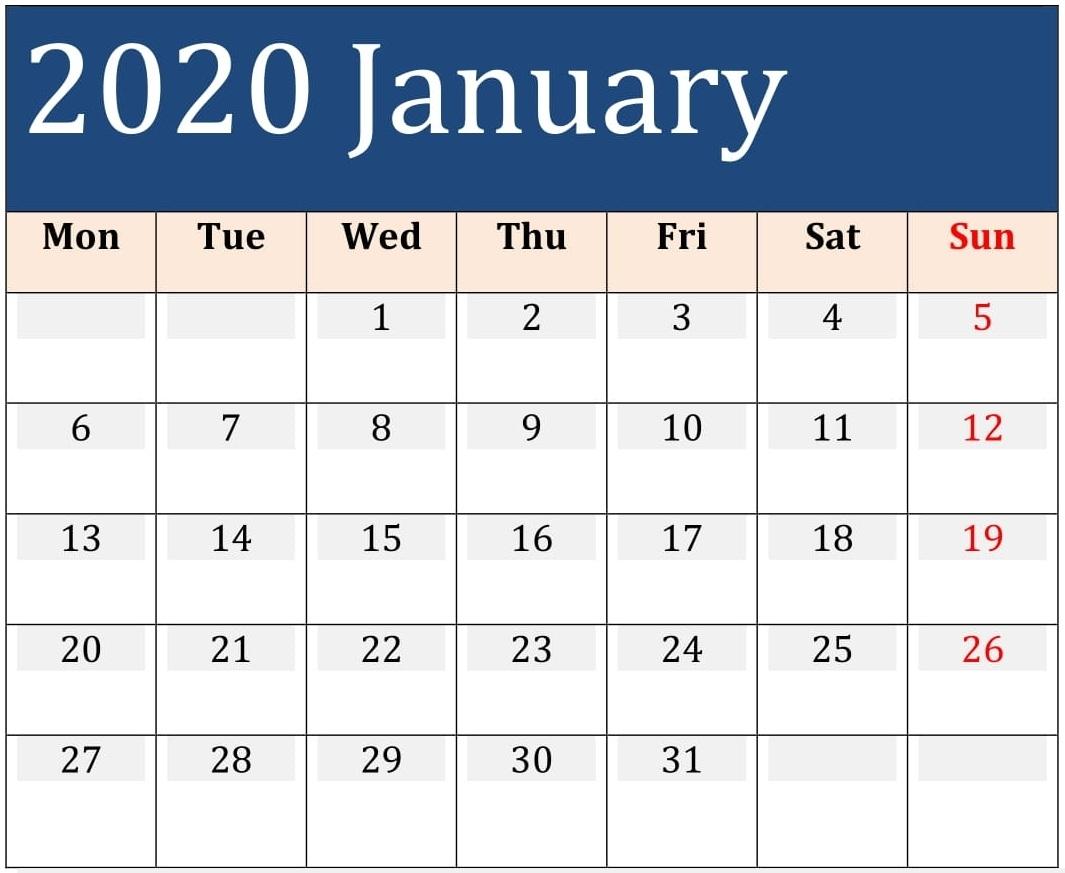January 2020 Printable Calendar Large Print - Free Latest