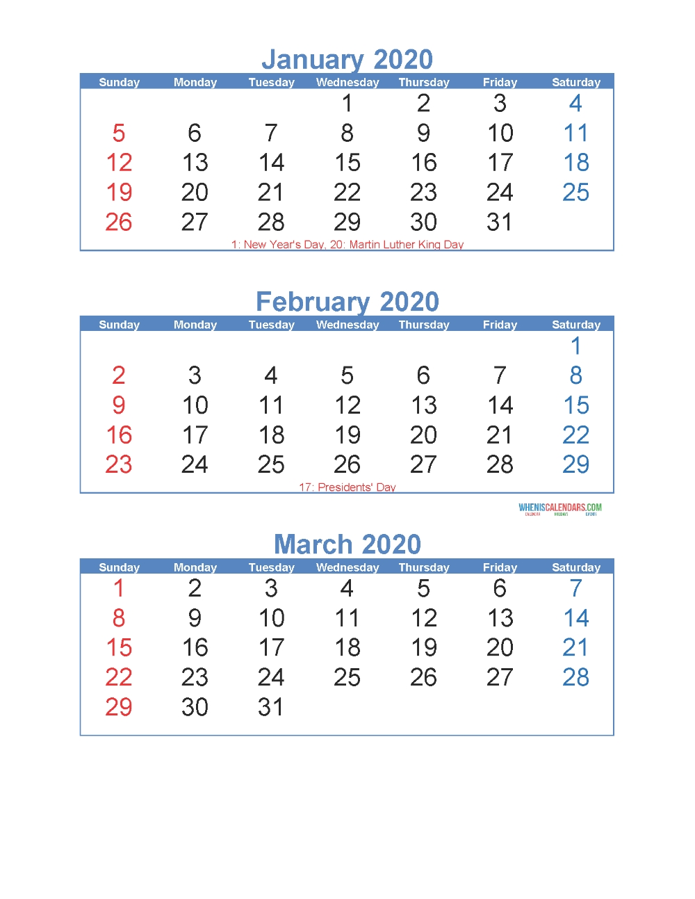 January February March 2020 Calendar 3 Months Per Page