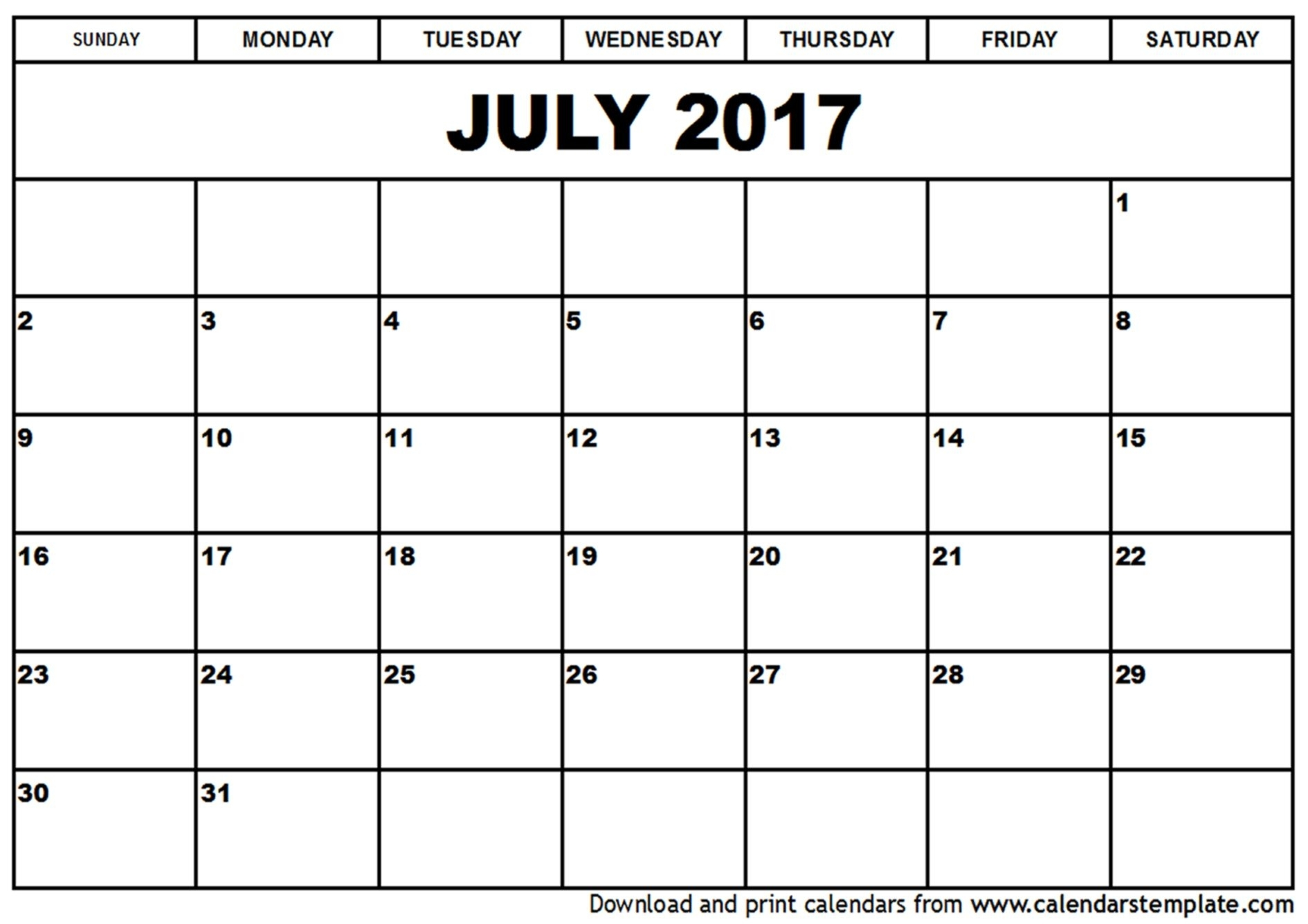 July 2017 Calendar Printable Template Pdf Holidays (With