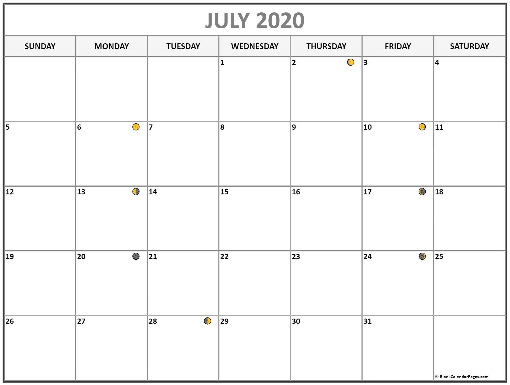 July 2020 Lunar Calendar | Moon Phase Calendar
