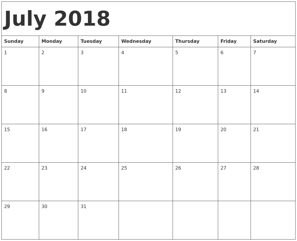 June 2018 Calendar Printable Usa — July Calendar With