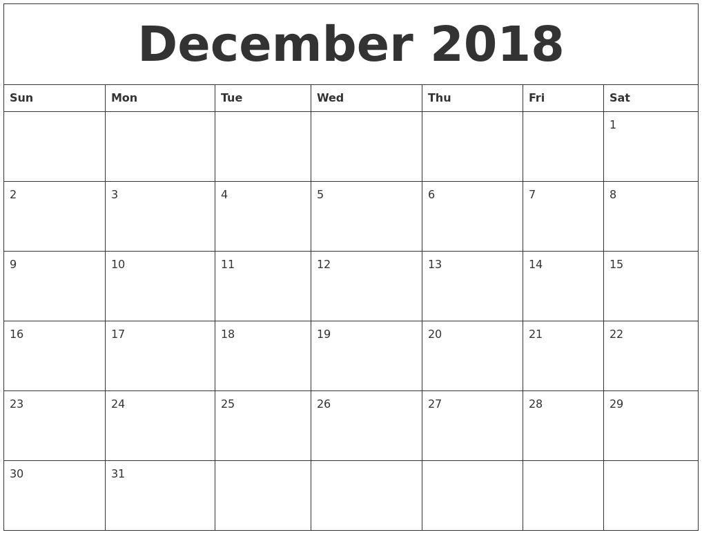 Large Squares Calendar For December 2018 | Blank Calendar