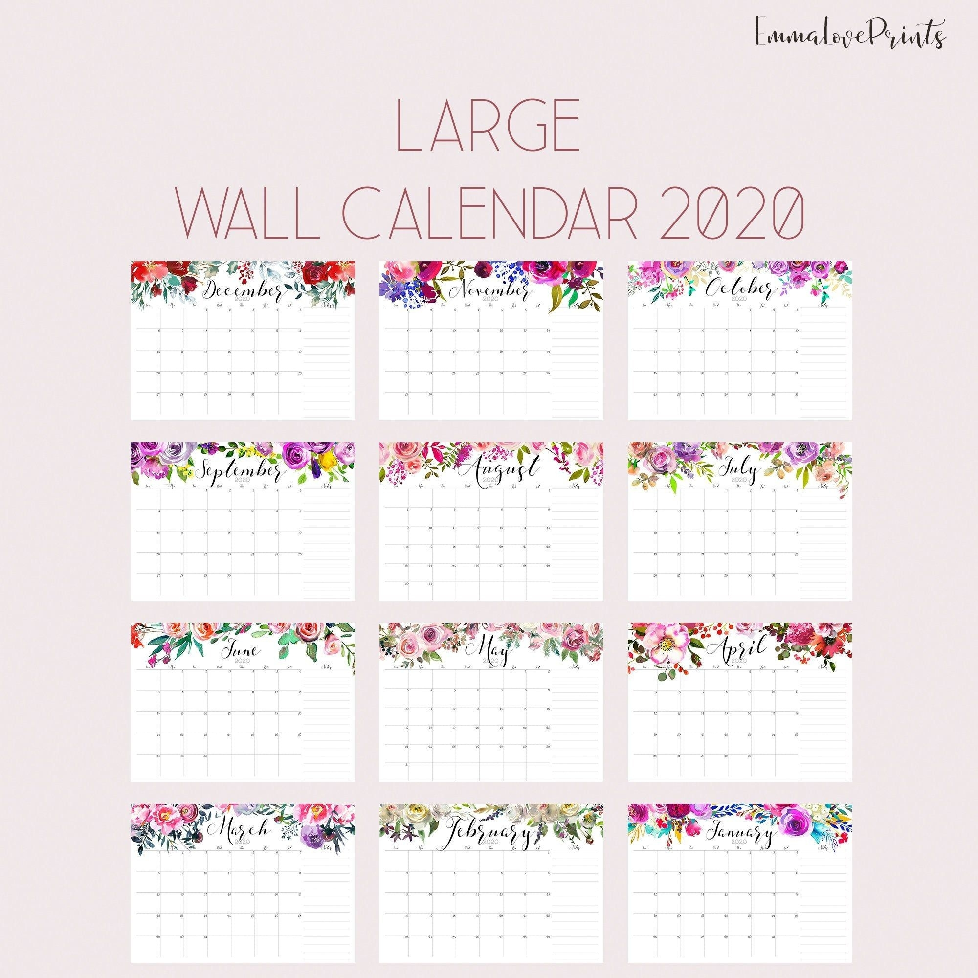 Large Wall Calendar 2020, Watercolor Calendar, A3 Calendar