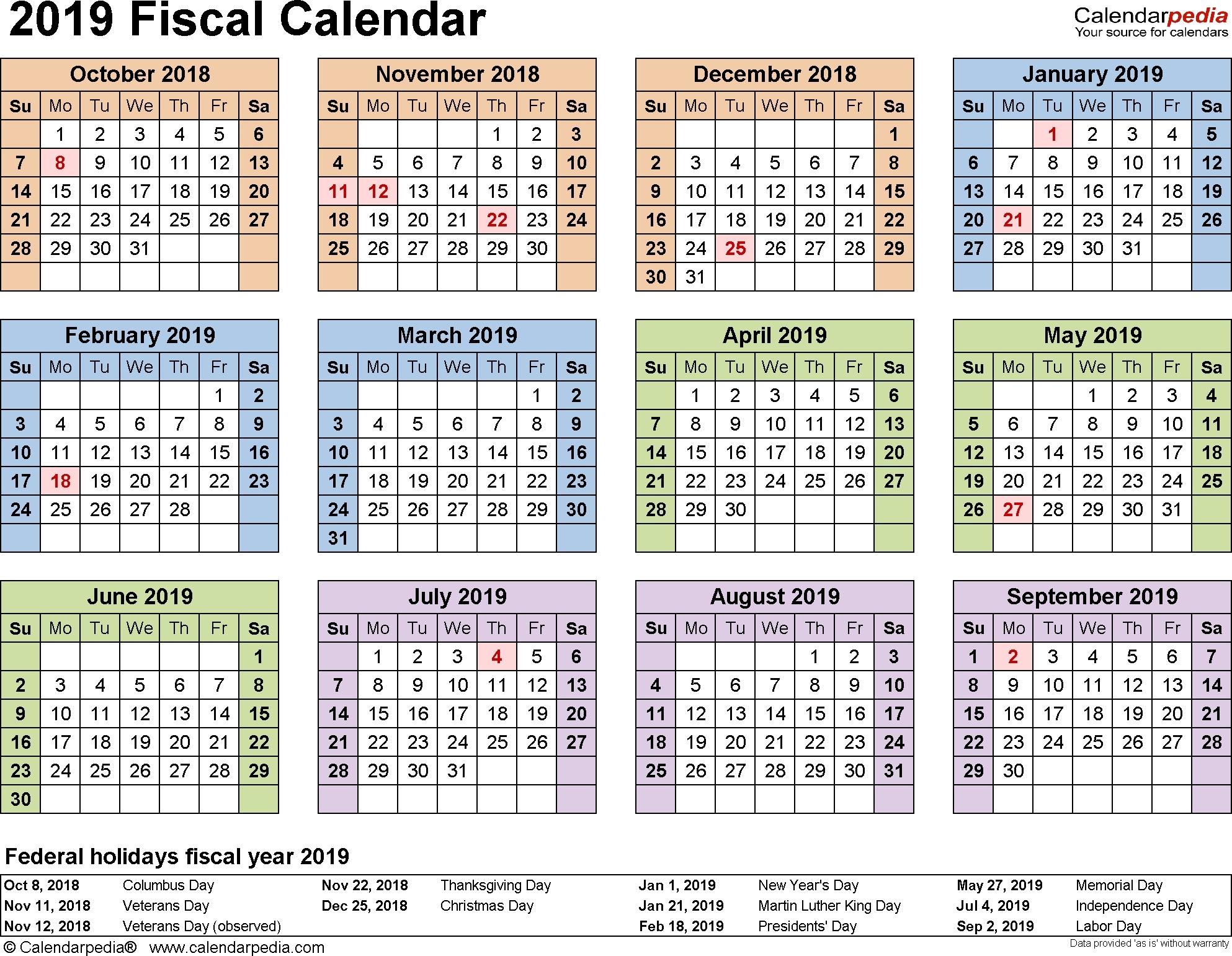 Lateral Printable Calendar 2019-2020 - Calendar Inspiration