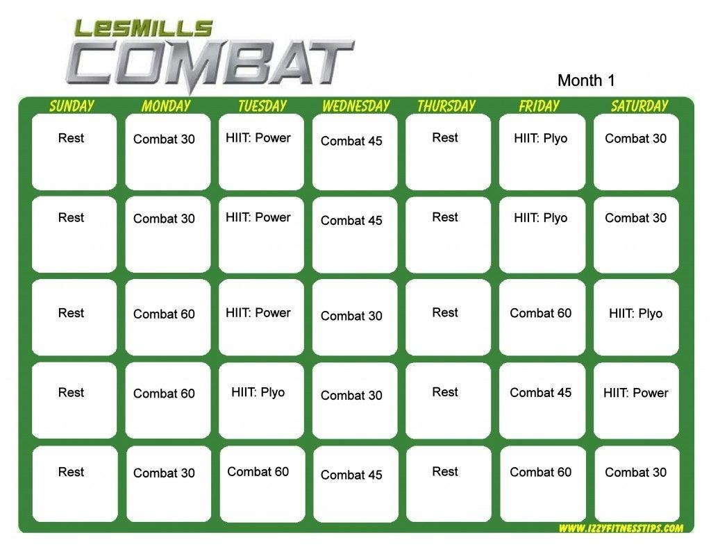 Les Mills Combat Month 1 | Hip Hop Abs, Workout Calendar
