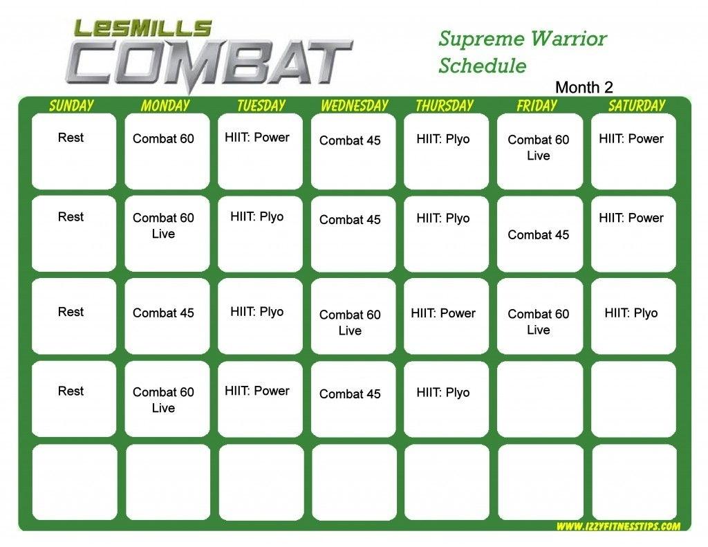 Les Mills Combat Workout Calendar (With Images) | Workout