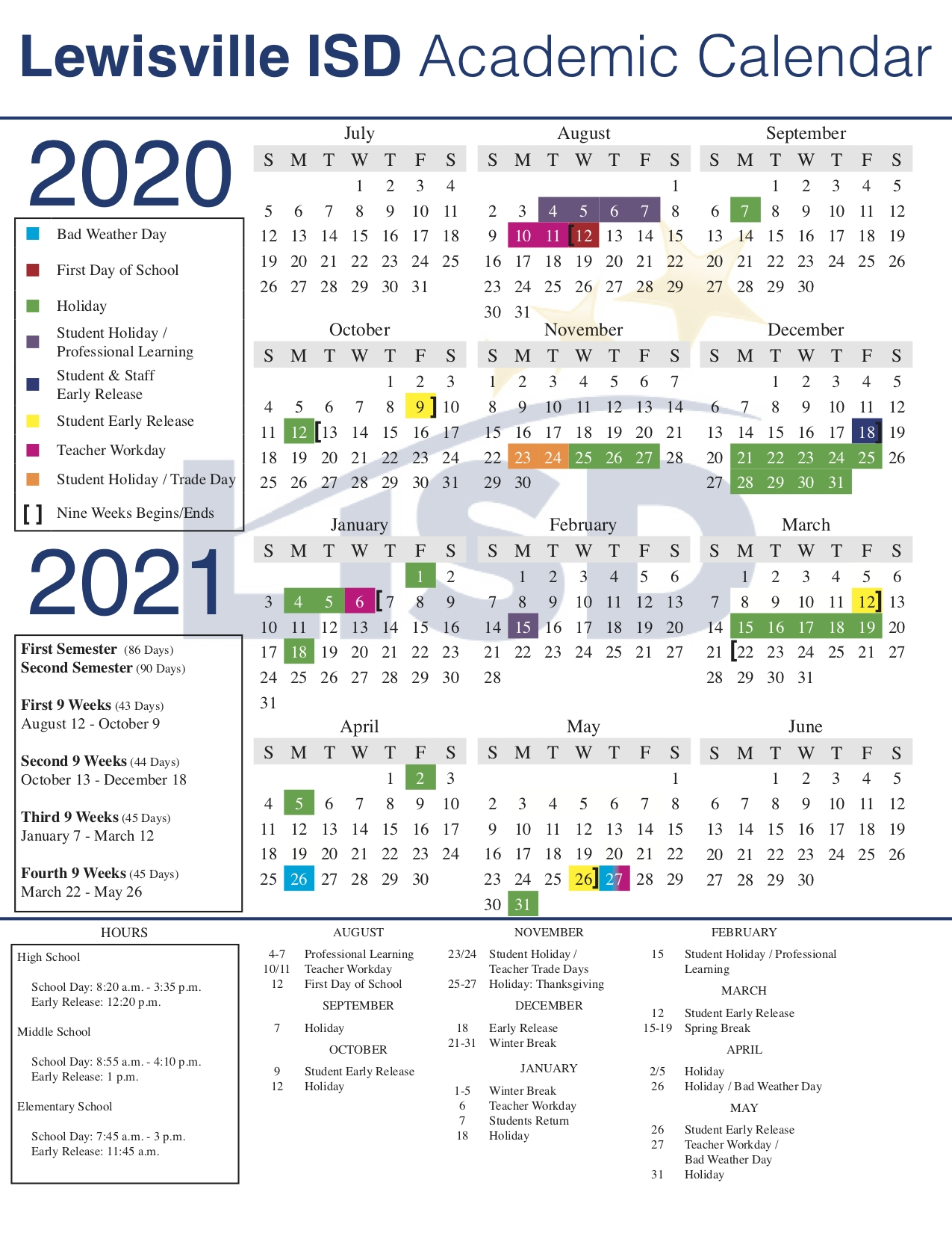 Lisd Approves 2020-21 Academic Calendar