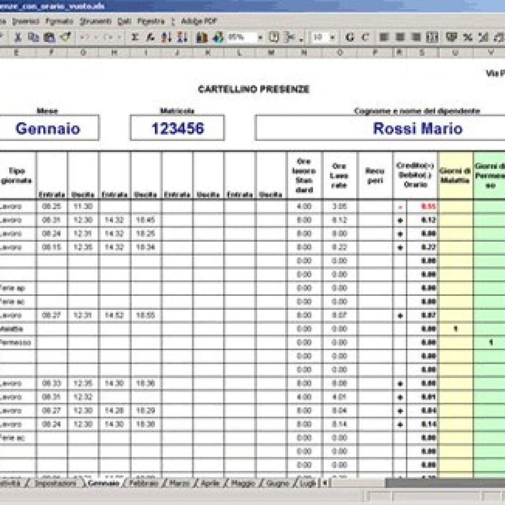 L'orario Di Lavoro Con Excel: Modello Gestione Dipendenti