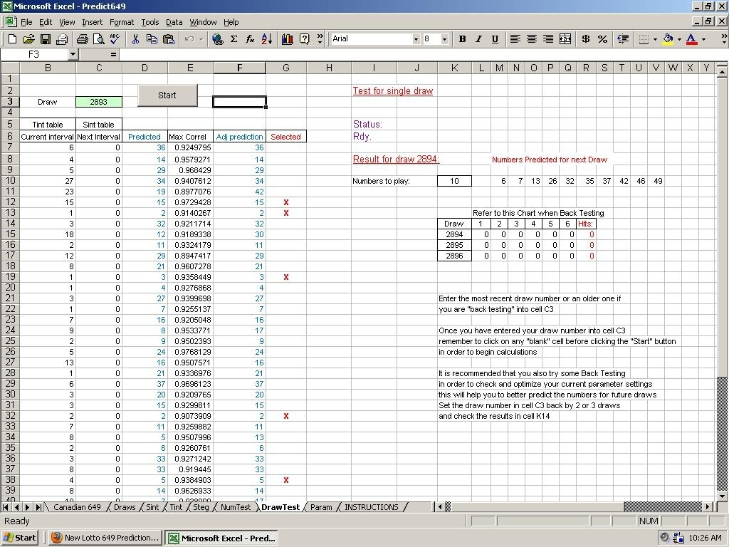 Lotto Pick 3 Prediction Method - Excel Program File