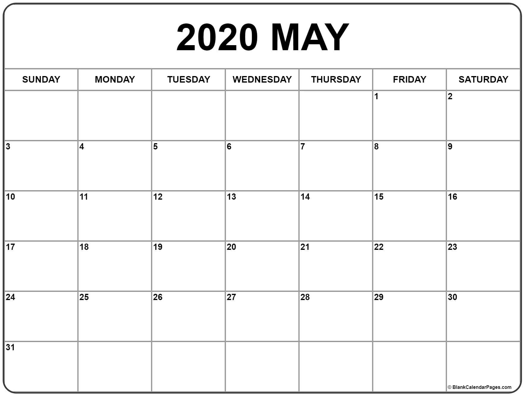 May 2020 Calendar   Free Printable Monthly Calendars