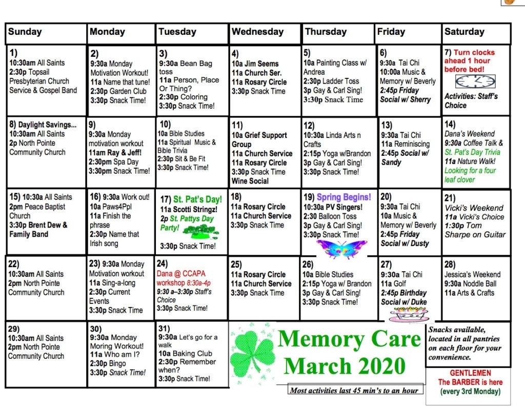Memory Care Calendar - The Davis Community
