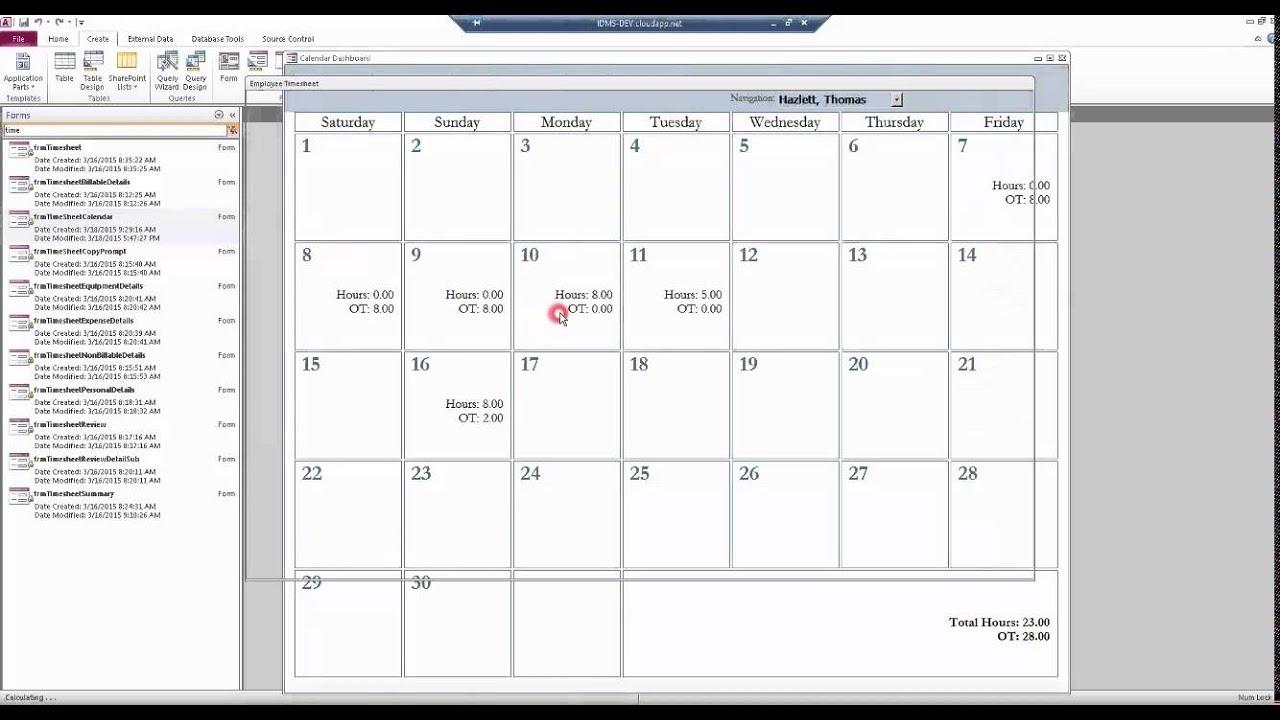 Microsoft Access Custom Calendar Control Walkthrough