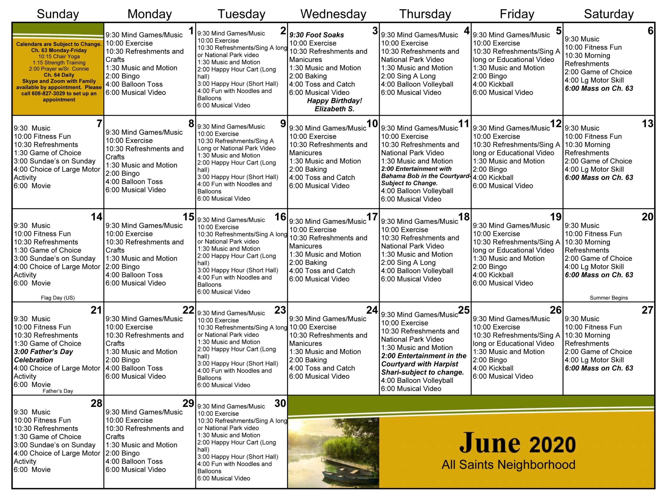 Monthly Calendar | Dementia Care & Alzheimer's Care In