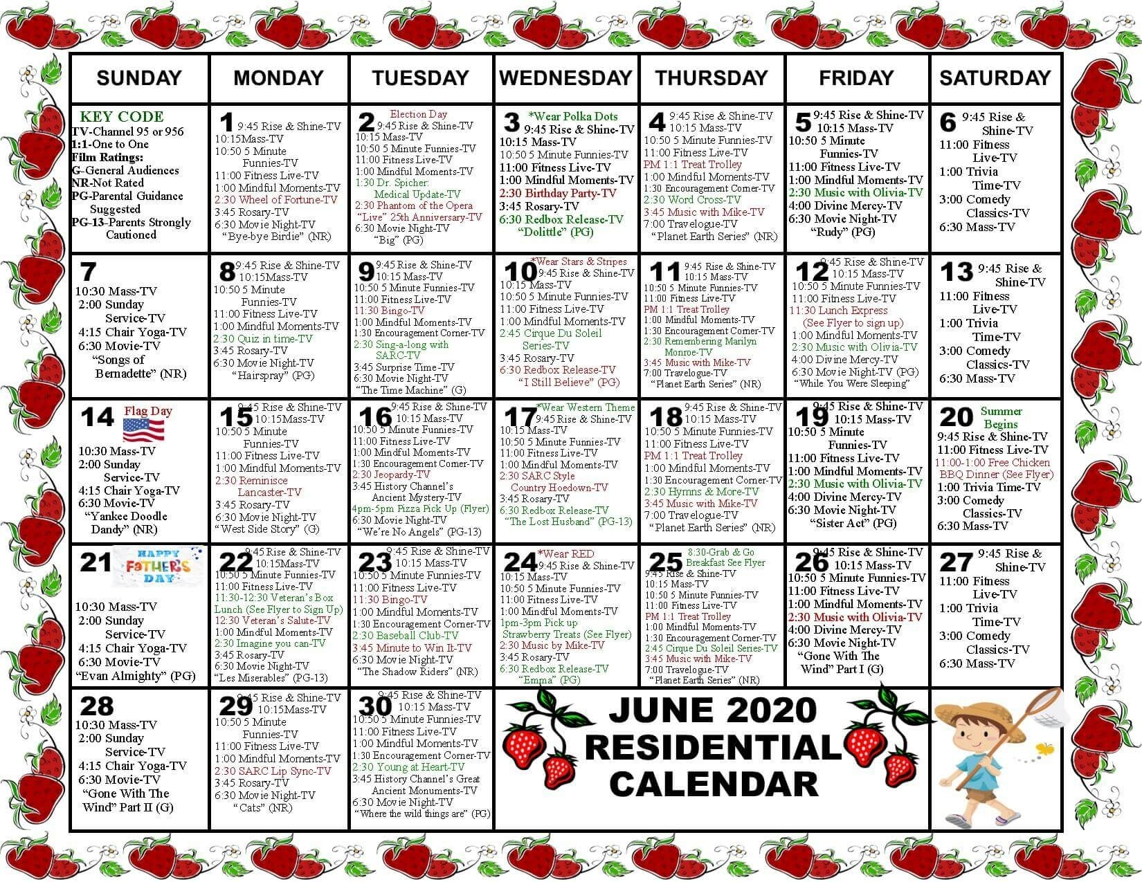 Monthly Community Calendars - St. Anne's Retirement Community