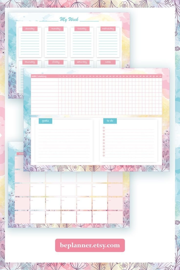 Monthly Planner Printable With Habit Tracker And To Do List