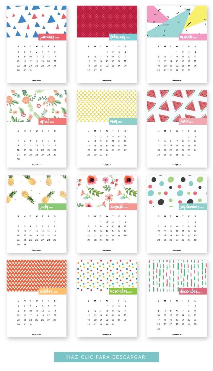 Monthly Printable Calendar 2017 | Calendario Para Imprimir