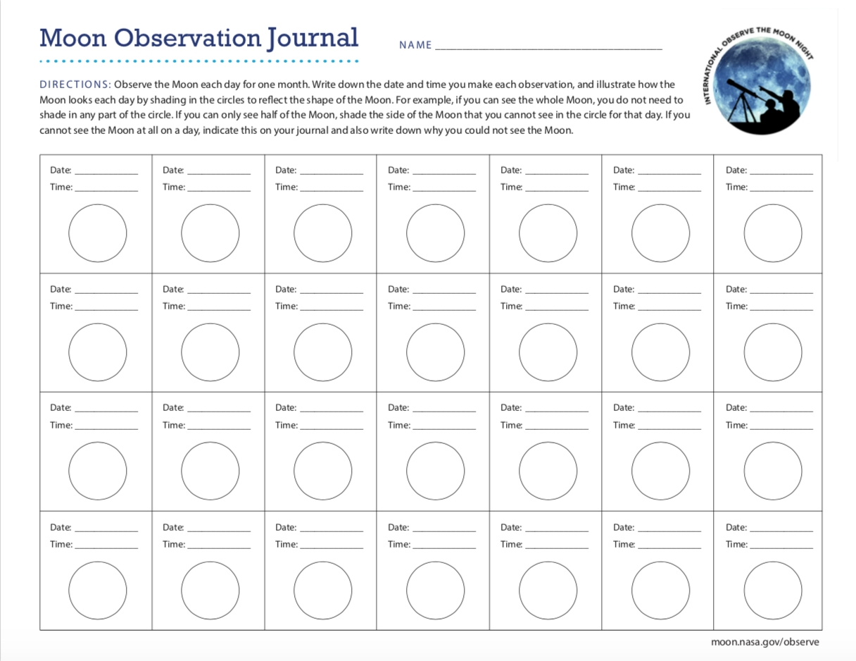 Moon Observation Journal - Moon: Nasa Science