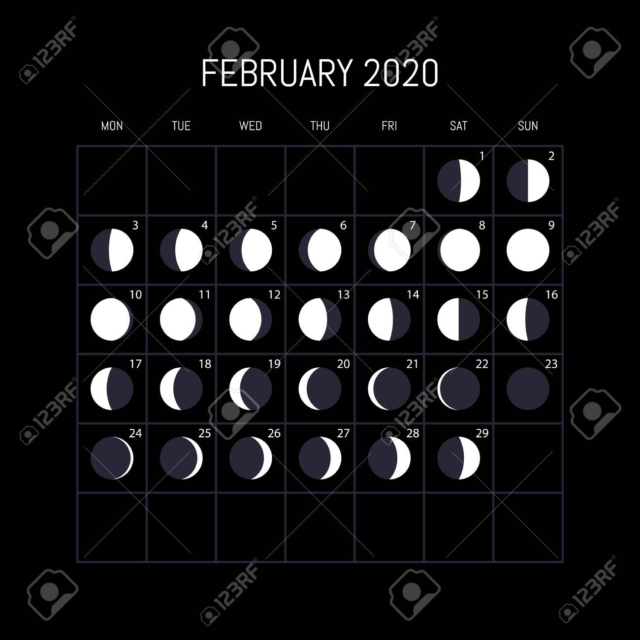 Moon Phases Calendar For 2020 Year. February. Night Background..