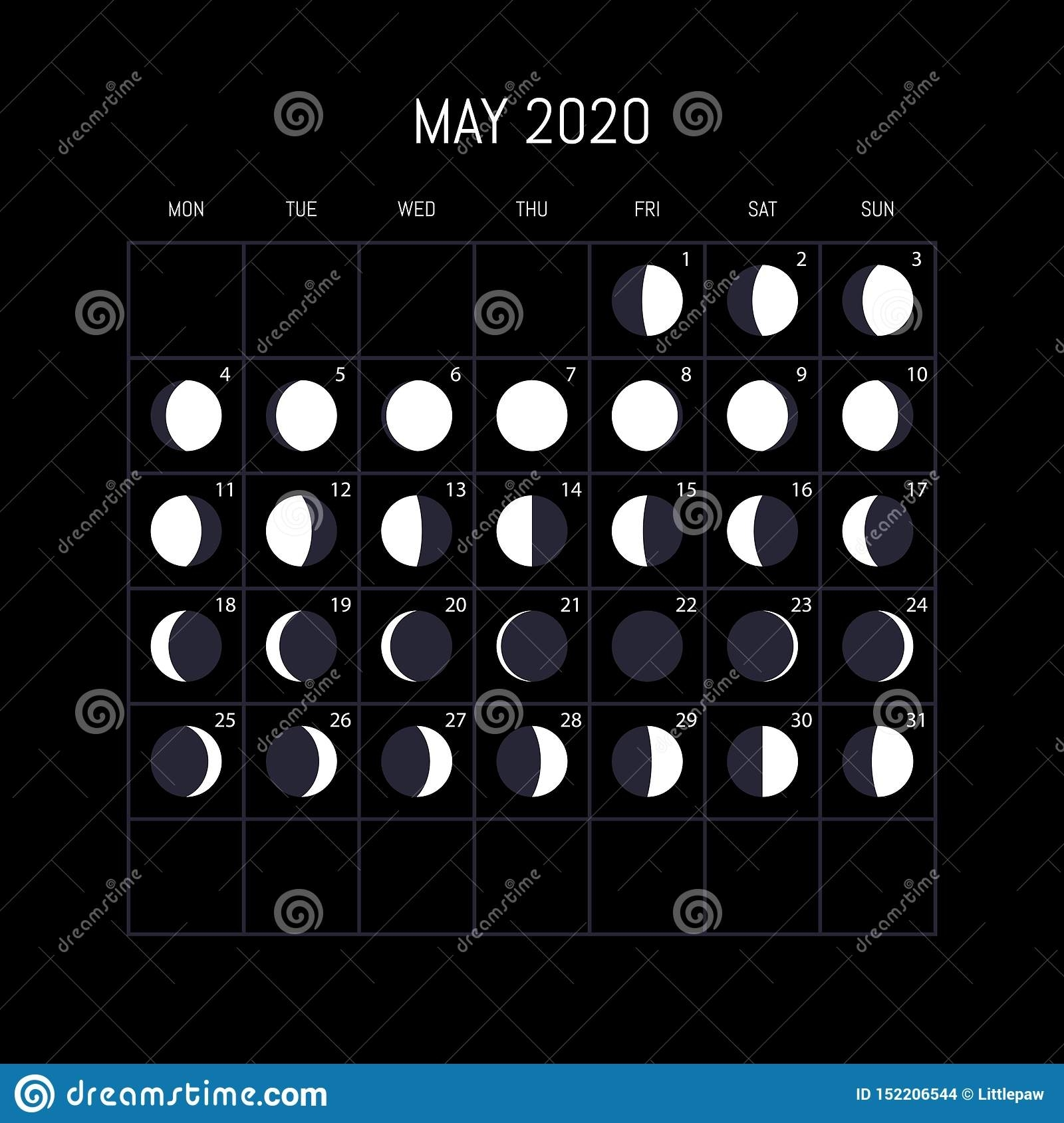 Moon Phases Calendar For 2020 Year. May. Night Background