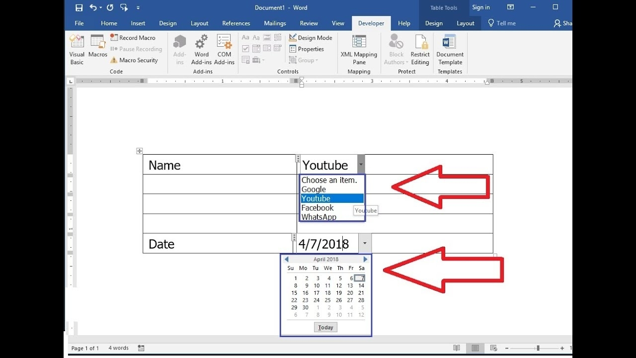Ms Word: How To Create Drop Down List Of Date Calendar & Name