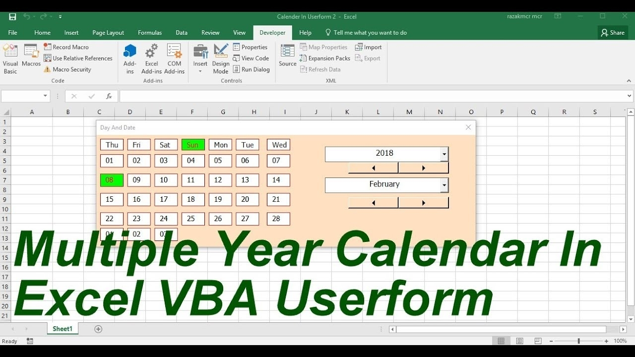 Multiple Year Calendar In Userform Excel Vba