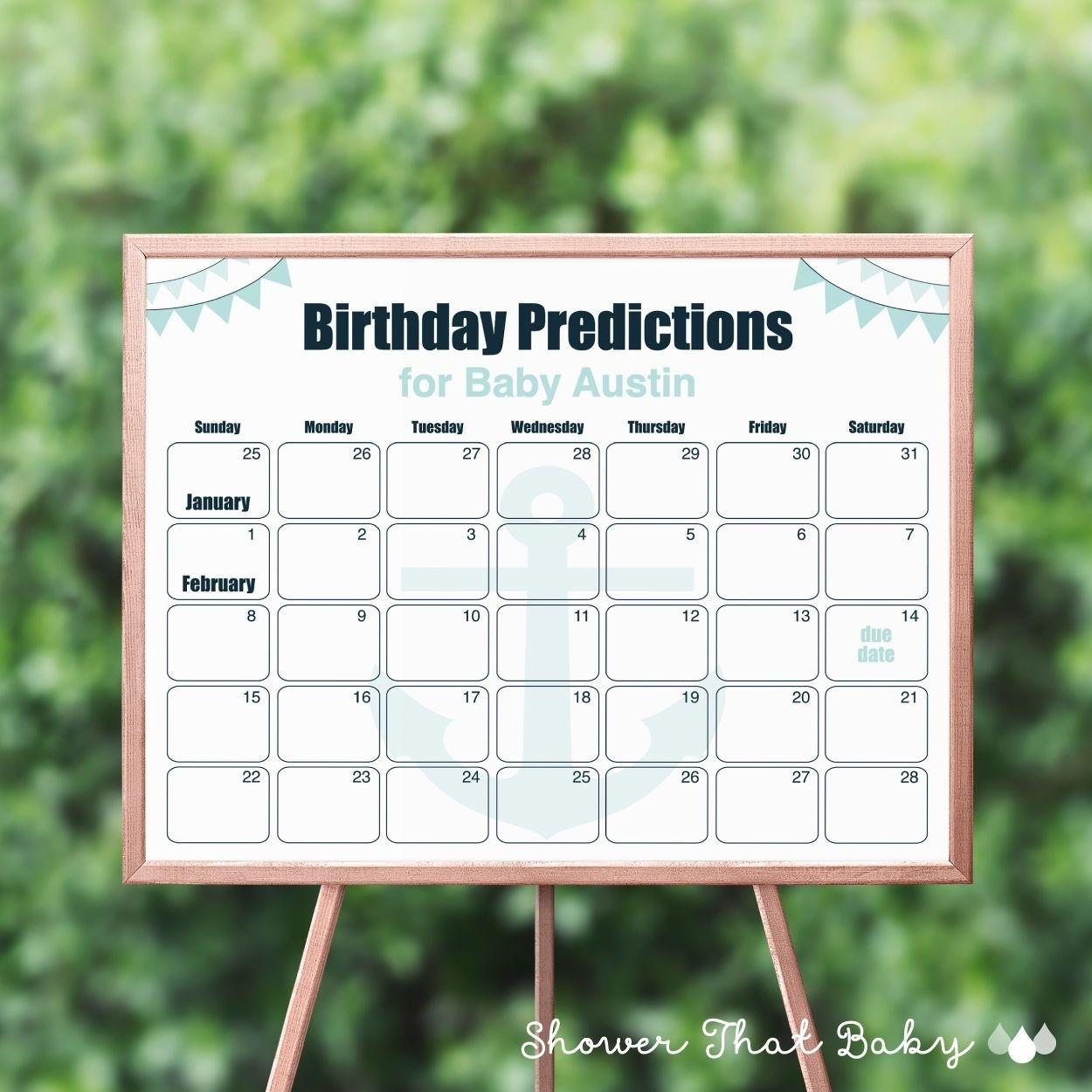 Nautical Birthday Prediction Calendar - Printable Nautical