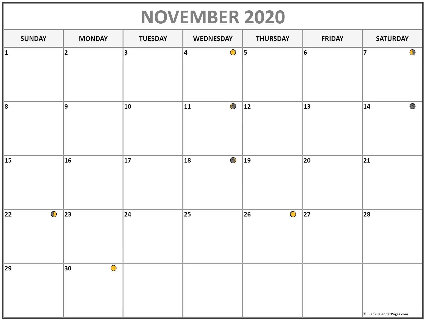 November 2020 Lunar Calendar | Moon Phase Calendar