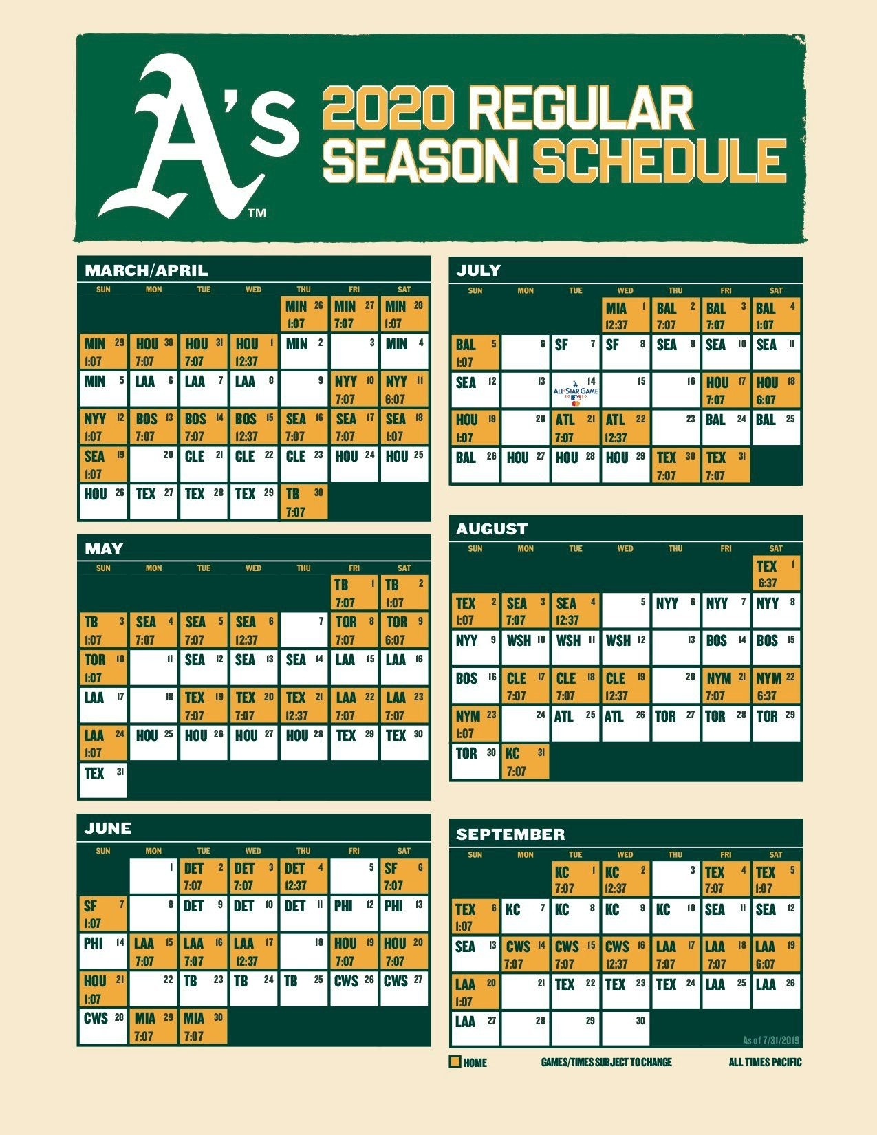 Oakland A's 2020 Schedule: 6 Things To Know - Athletics Nation