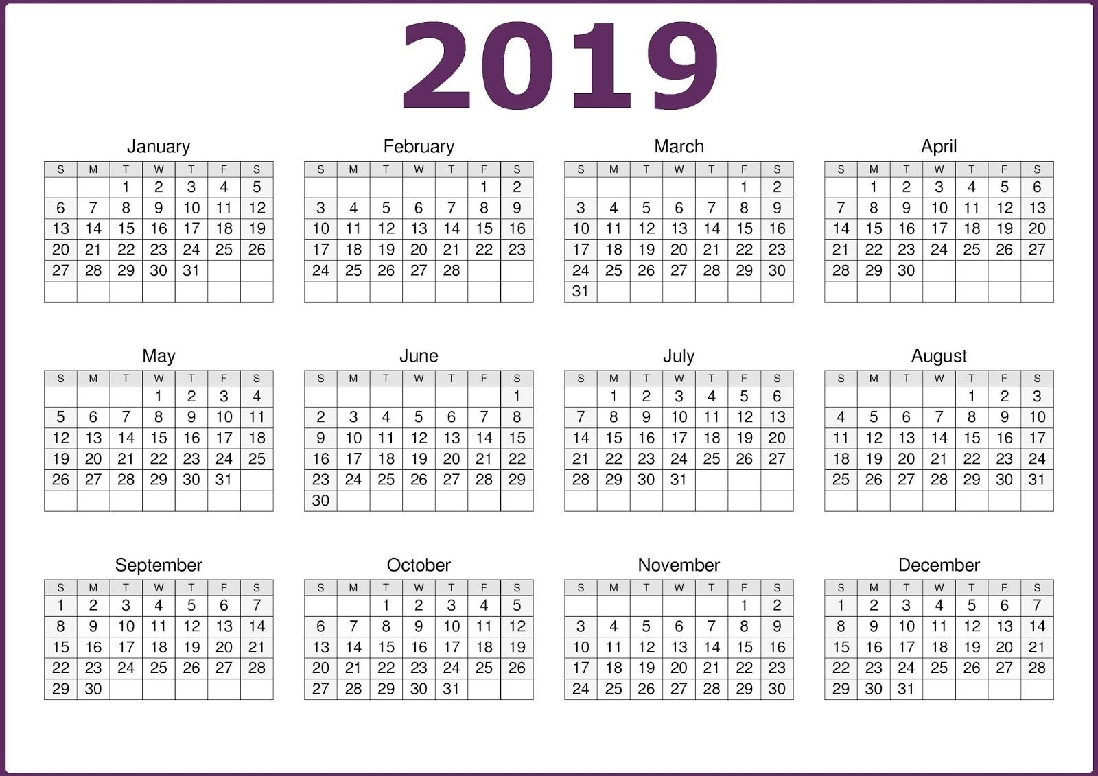 One Page 2019 Printable Calendar Free Download | Calendar