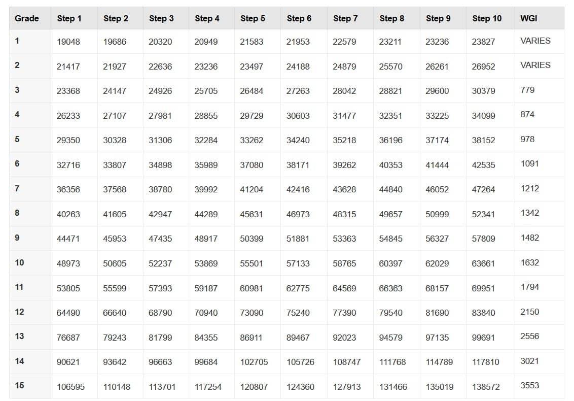 Opm Salary Chart - Daska