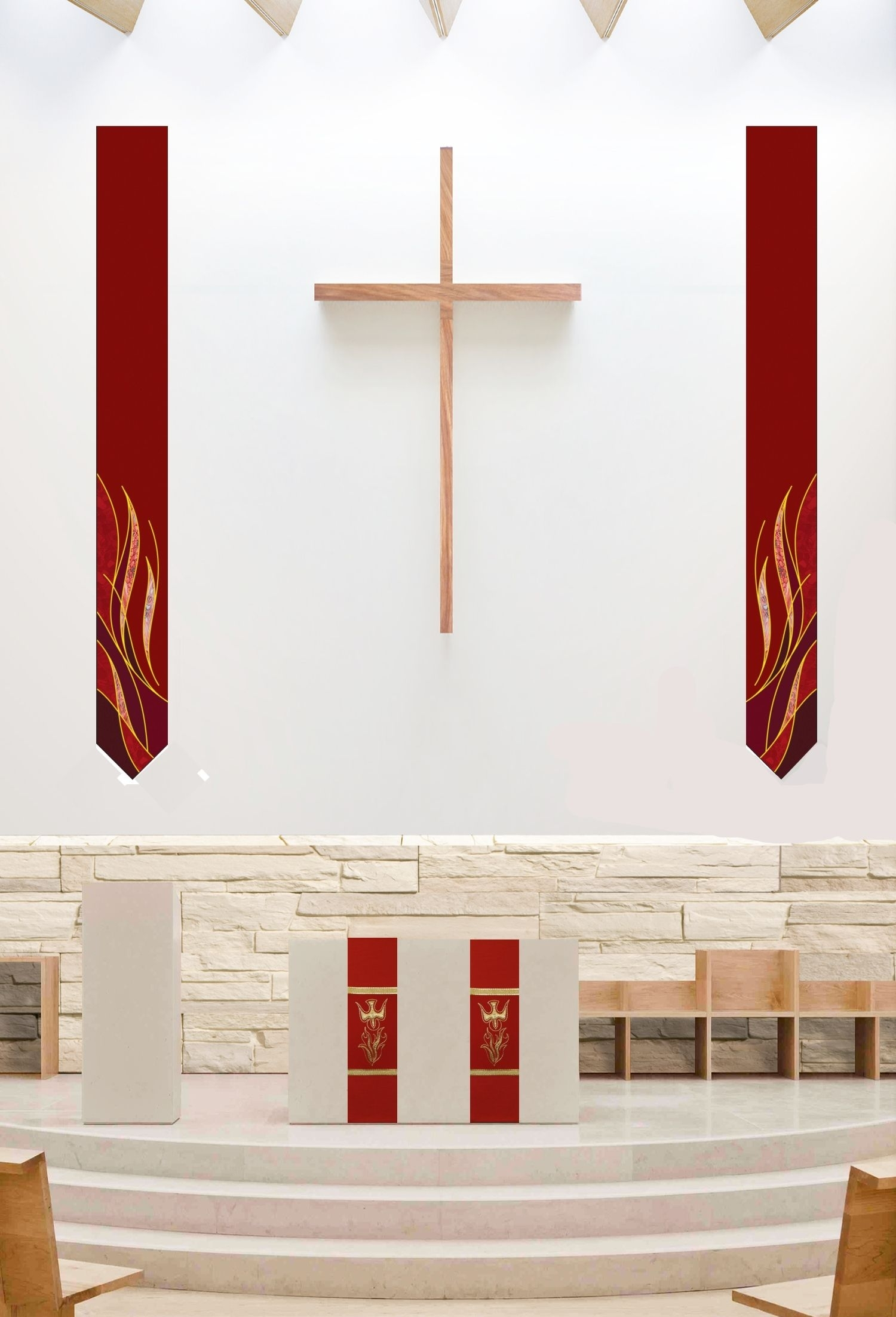 Pair Of Printed Flame Wall Hangings 24 X 220 & Holy Spirit