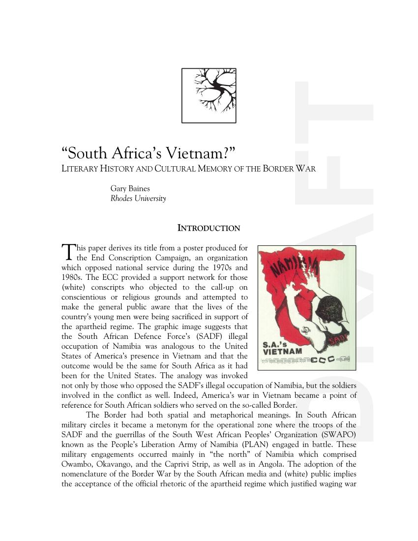 "Pdf) ""South Africa's Vietnam?"""