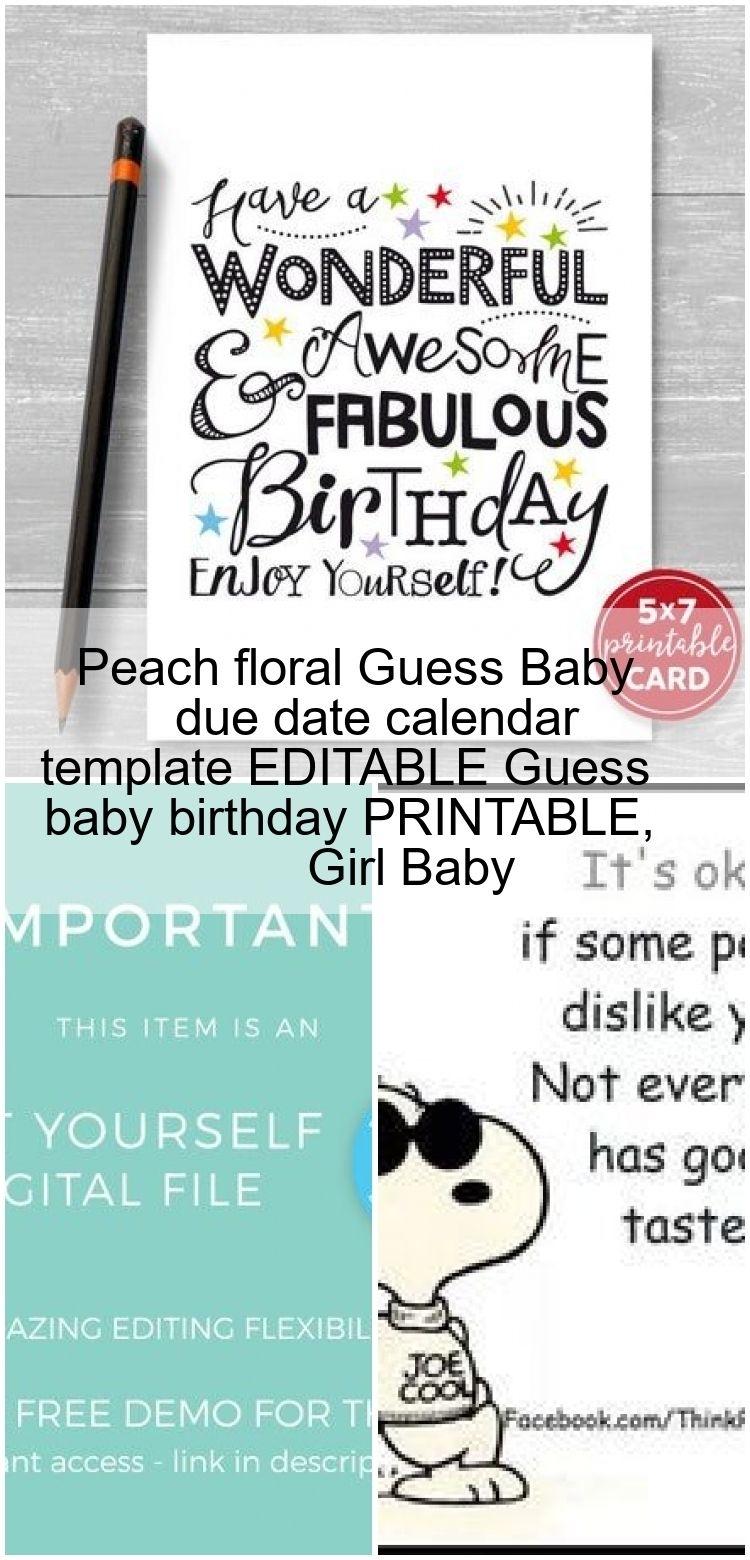 Peach Floral Guess Baby Due Date Calendar Template Editable