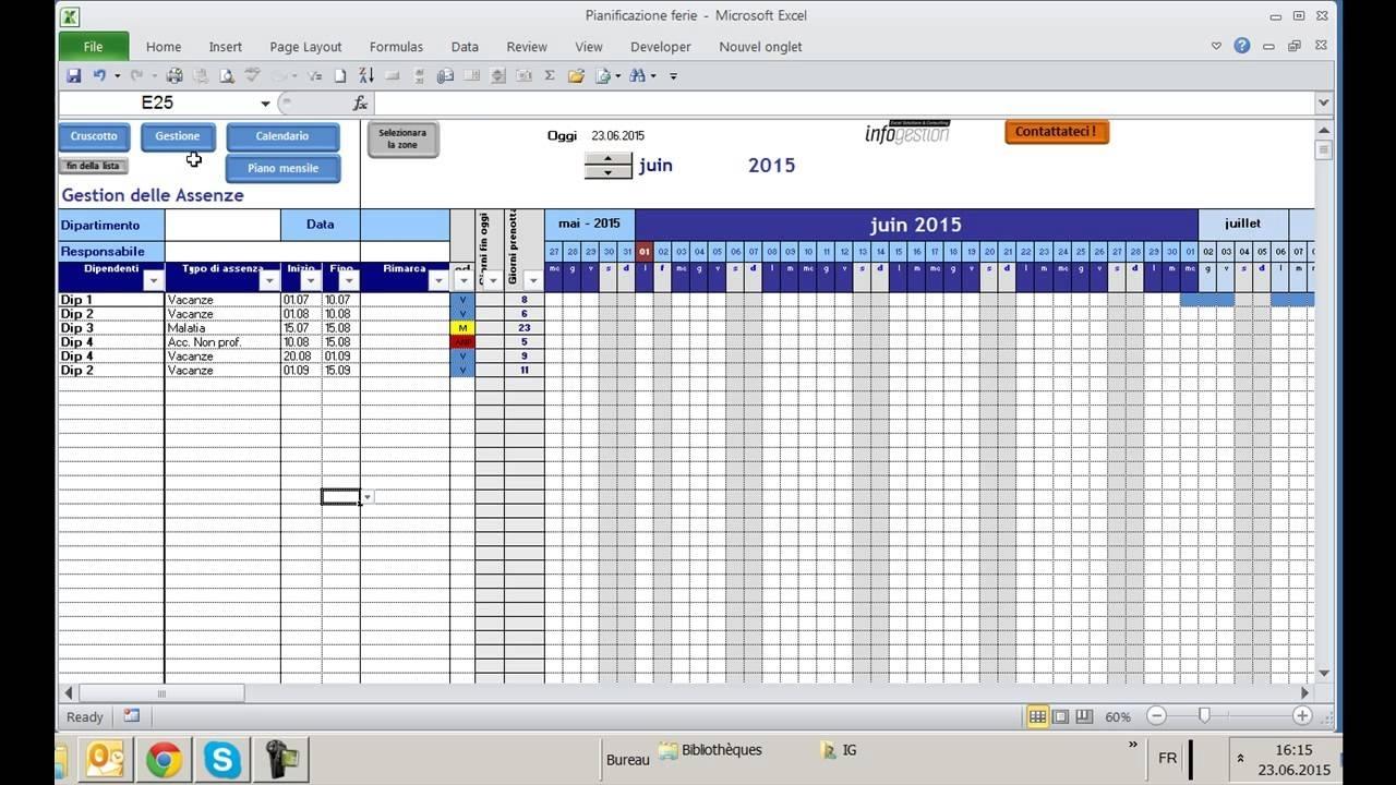Pianificazione Ferie Excel, Sviluppa Da Infogestione, Specialisti Su Excel