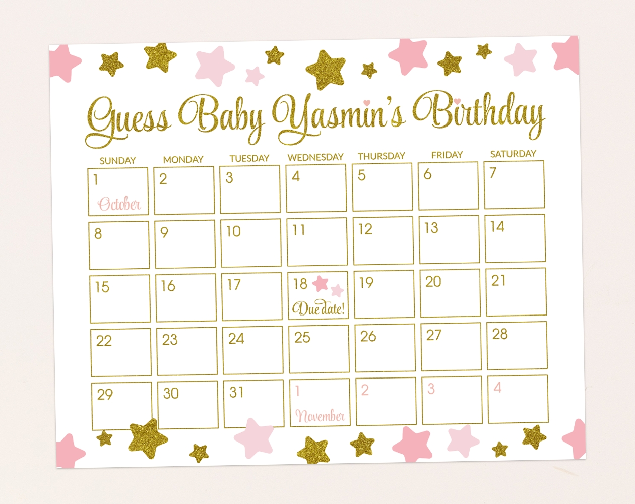 Pink And Gold Stars Guess The Due Date - Baby Shower Game