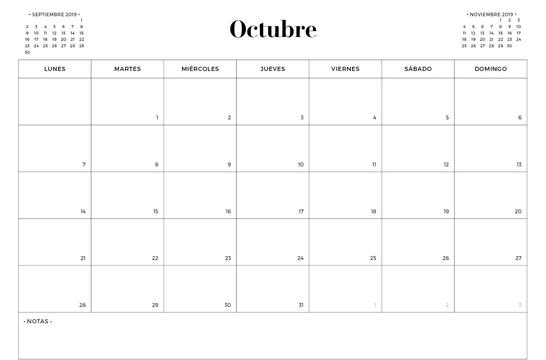 Plantilla Imprimible Del Calendario De Octubre De 2019 En