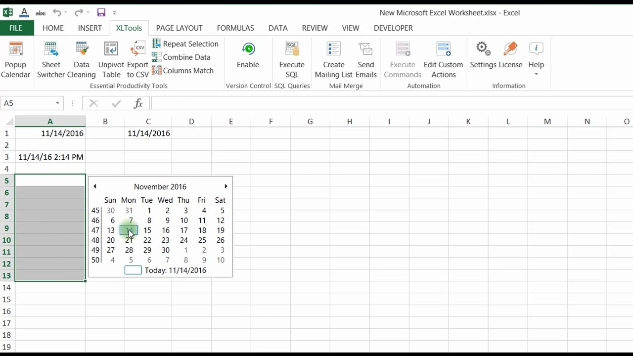 Popup Calendar For Excel | Xltools – Excel Add-Ins You Need