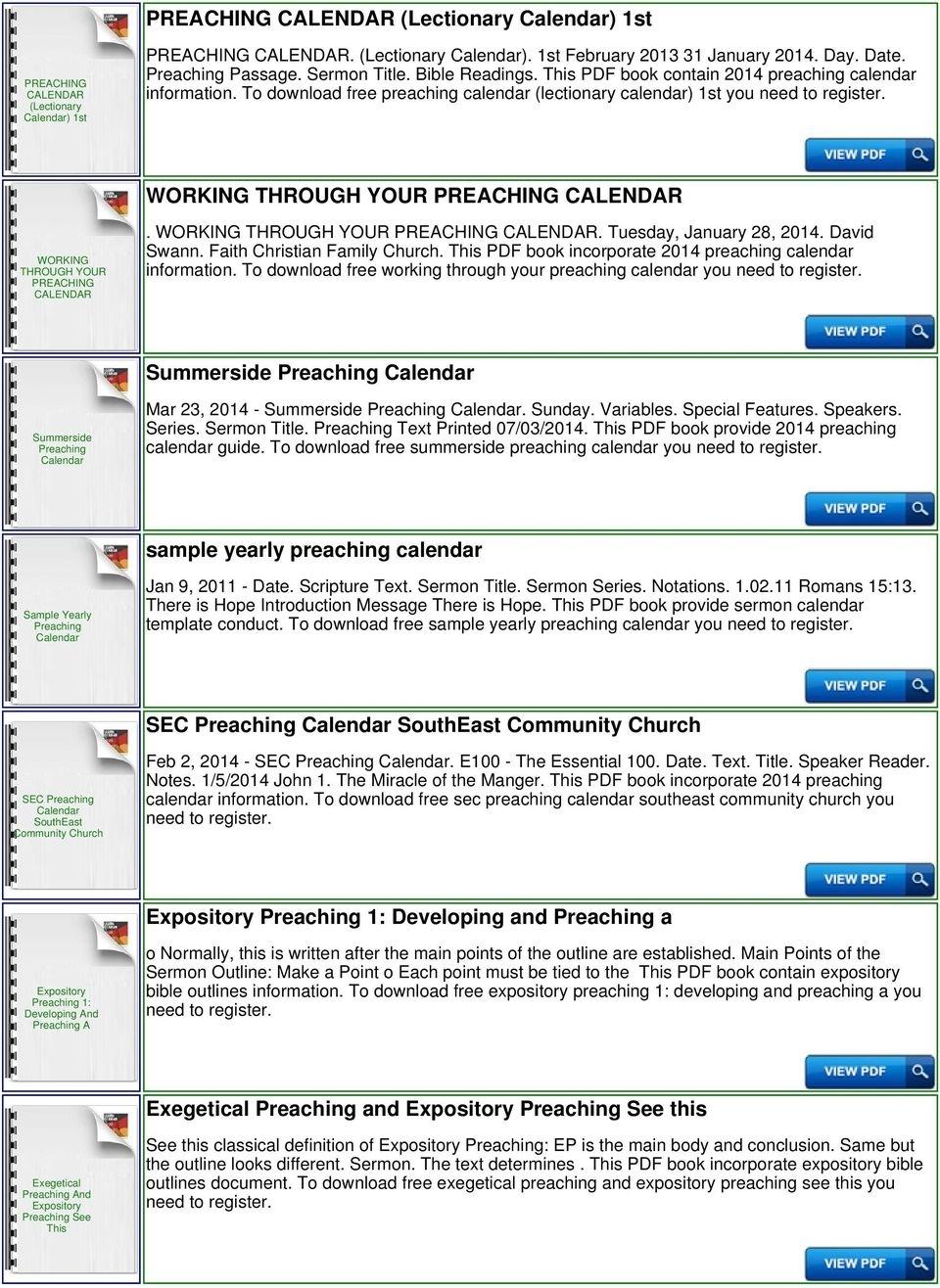 Preaching Calendar Template - Pdf Free Download