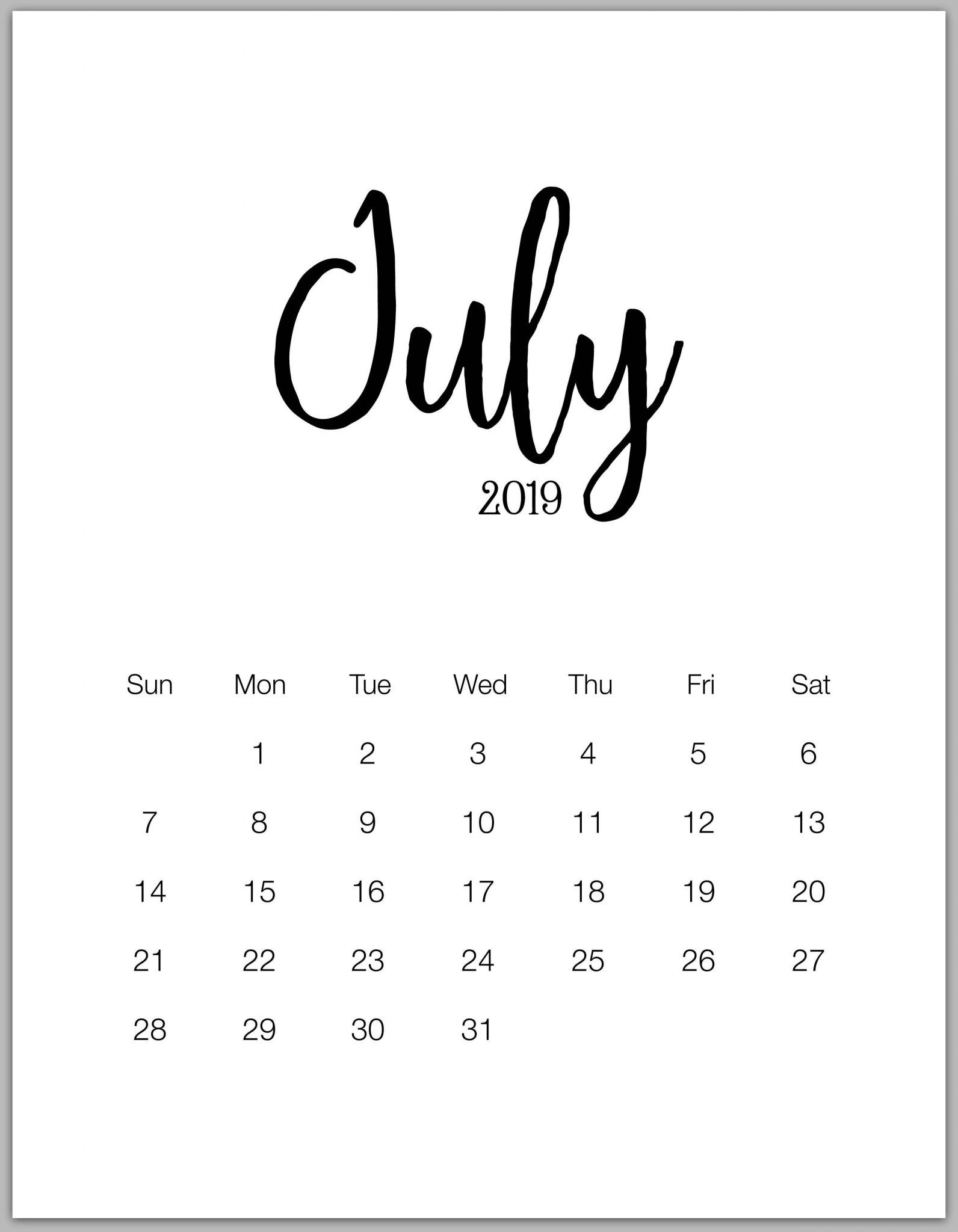 Print Monthly Blank Calendar July 2019 Printable Template